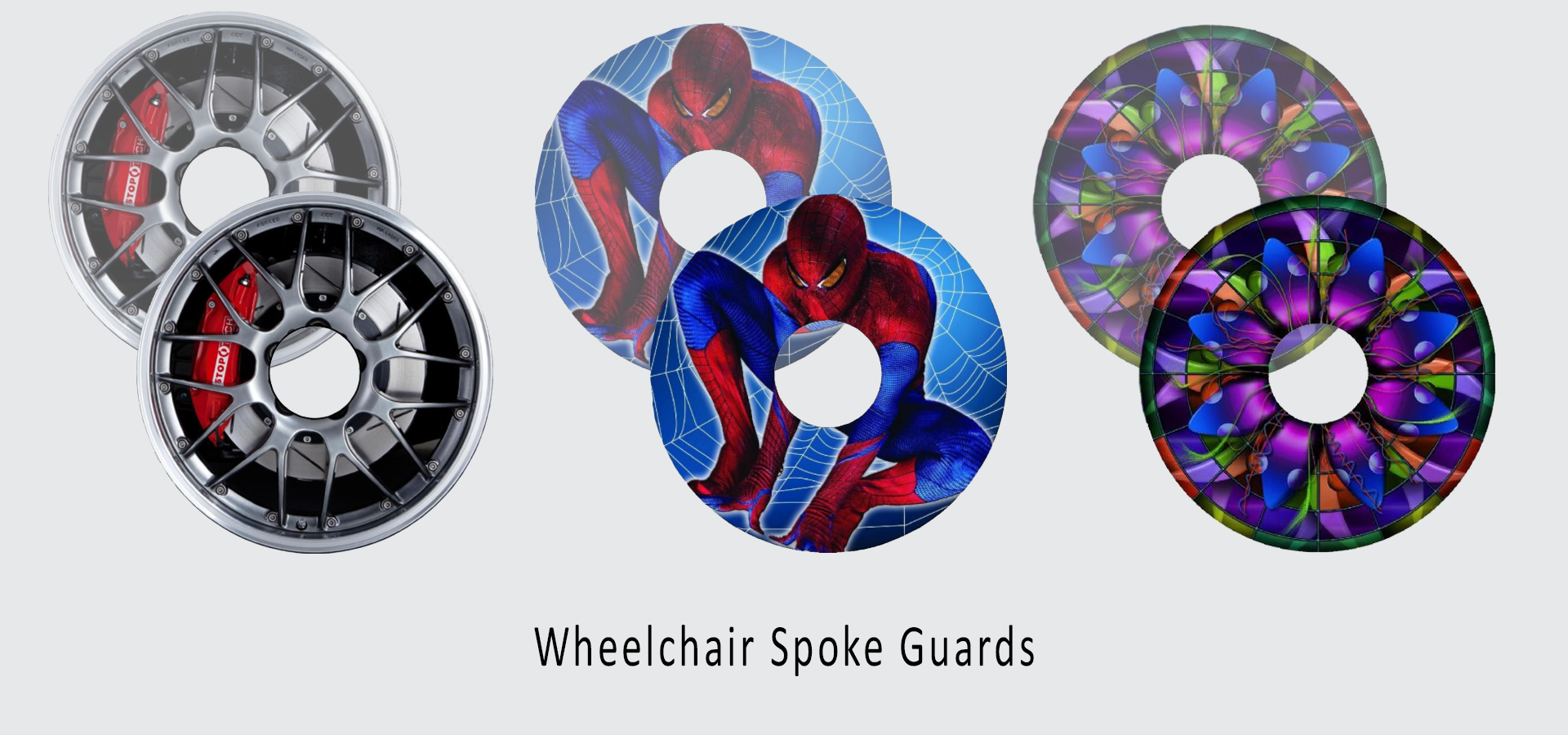 Wheelchair spoke guard & spare wheel cover personalised